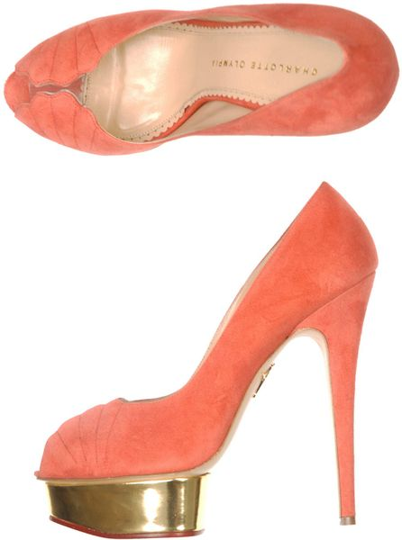 Charlotte Olympia Daryl Shell Suede Shoes in Orange (coral) - Lyst