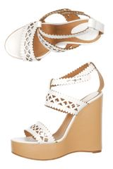 Chloé Lasercut Leather Wedge Shoes in White - Lyst