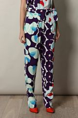 Diane Von Furstenberg Leaves Trousers - Lyst