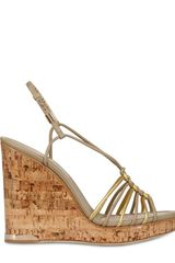 Ferragamo 120mm Bitia Woven Leather Wedges - Lyst
