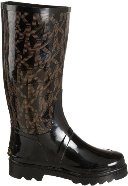 Michael Michael Kors Tall Logo Rain Boot In Black Lyst