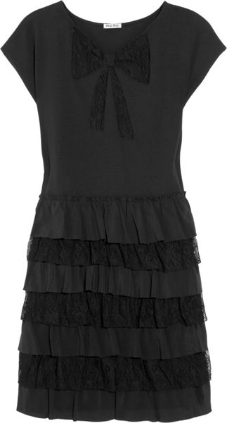 Miu Miu Lace and Silk Tiered Cotton Jersey Dress in Black