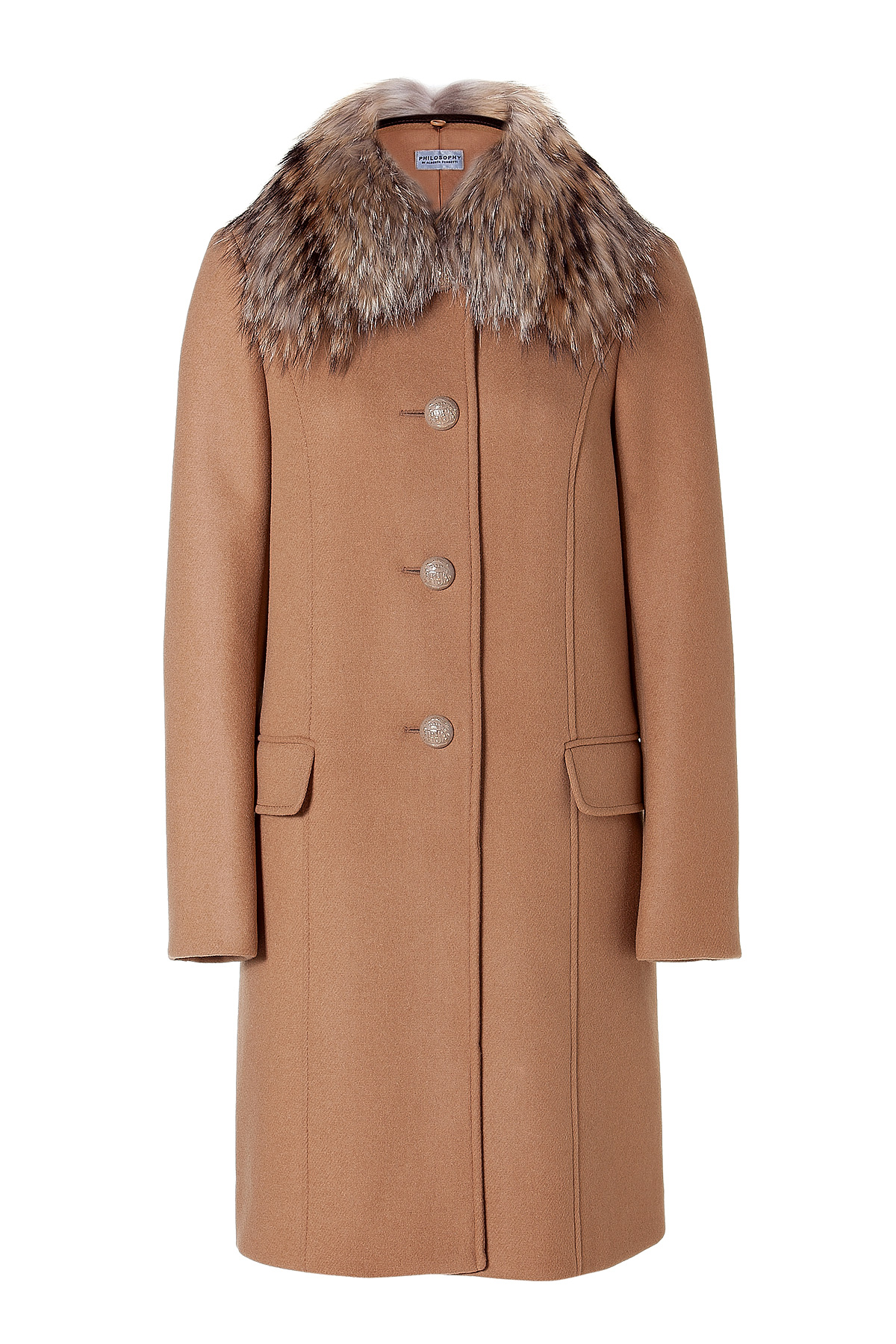 Lyst - Philosophy di Alberta Ferretti Camel Wool Coat With Fur ... 2d3fdee87