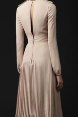 Burberry Prorsum Pleated Silk VNeck Dress in Pink (pale mink) - Lyst