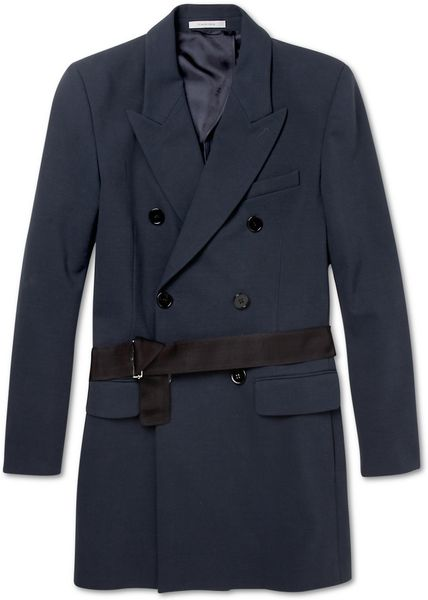 Carven Double Breasted Cotton Jersey Overcoat in Blue for Men - Lyst