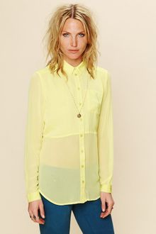 Free People Sheer Buttondown Tunic - Lyst