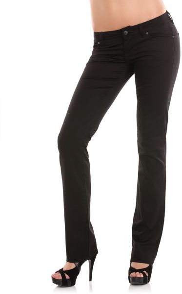 Guess Starlet Straight Stretch Satin Pant in Black - Lyst