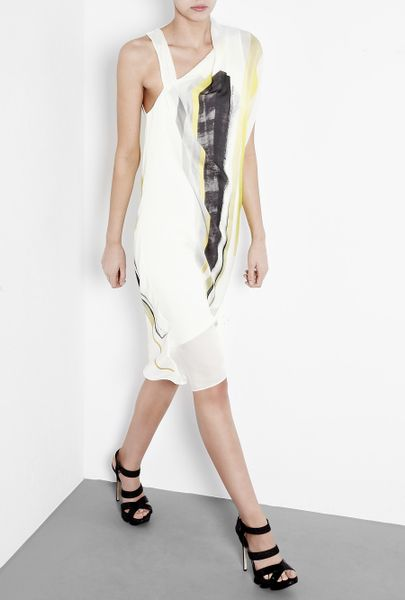 Helmut Lang Yellow Print Silk Open Back Dress in Gray (yellow) - Lyst