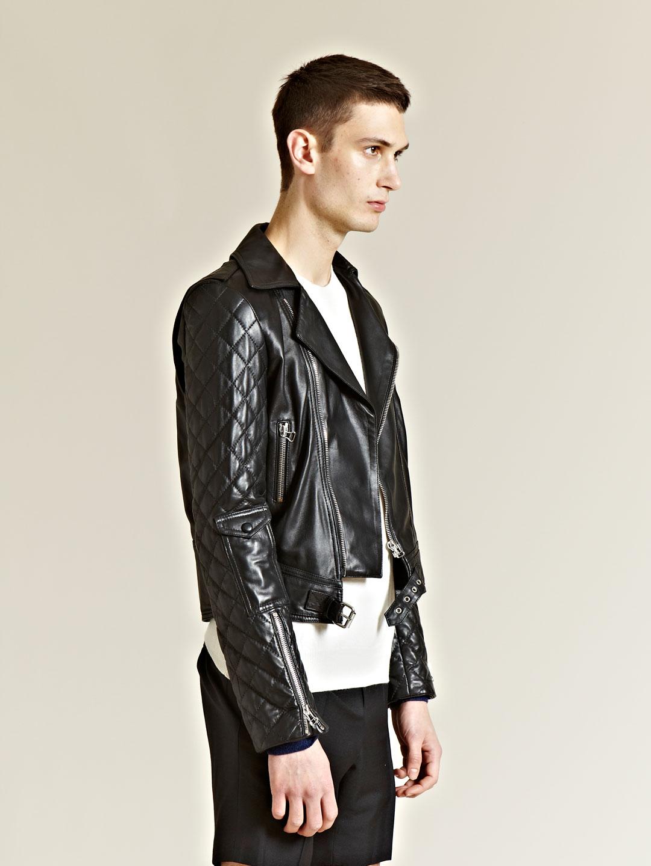 JW Anderson Leather Heart-patch Biker Jacket in Black for