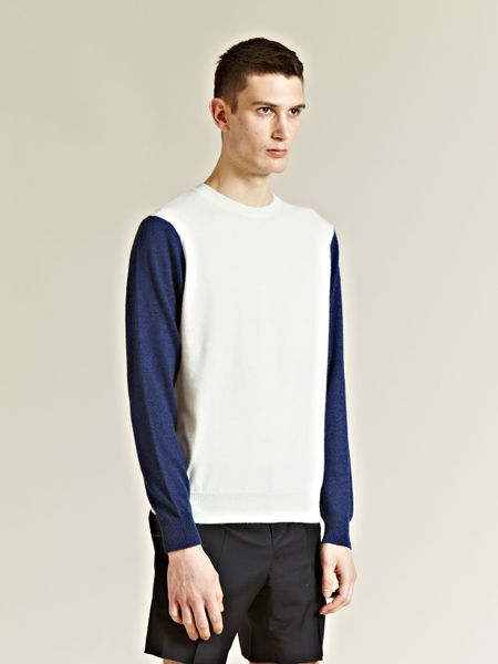 J.w. Anderson J W Anderson Mens Long Sleeved Cashmere Top in Blue for Men (white) - Lyst