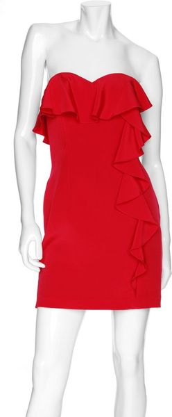 Jay Godfrey Preorder Strapless Ruflle Mini Dress in Red (tomato) - Lyst