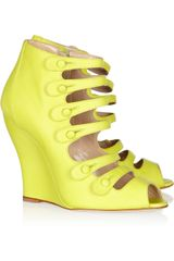 Oscar De La Renta Dakota Brushed Leather Wedge Sandals in Green (chartreuse) - Lyst