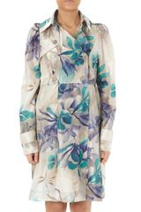Patrizia Pepe Trench in Blue (blue flower habotai) - Lyst