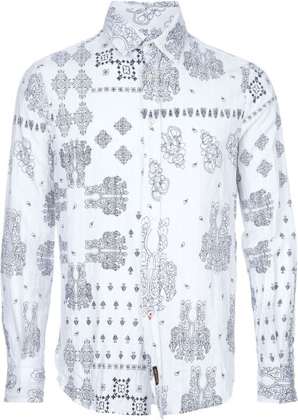Ra-re Print Shirt in Gray for Men (white) - Lyst