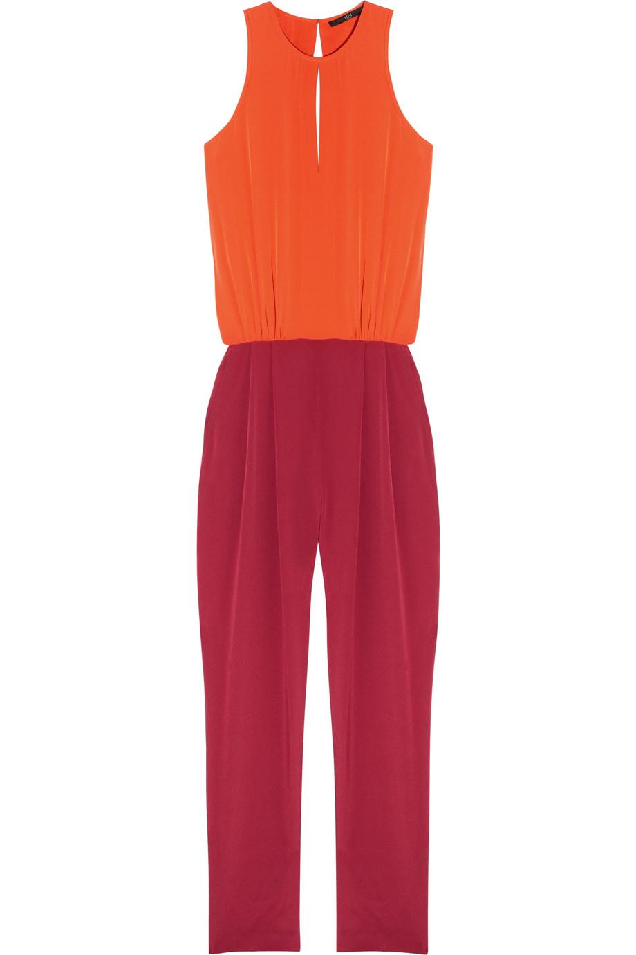 4f038876f11e2 Lyst - Tibi Two-tone Silk Crepe De Chine Jumpsuit in Orange