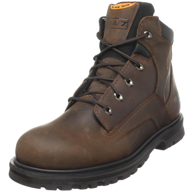 timberland pro mens magnus 6 soft toe work boot in brown
