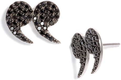 Tom Binns Bejewelled Pavé Stud Earrings in Black
