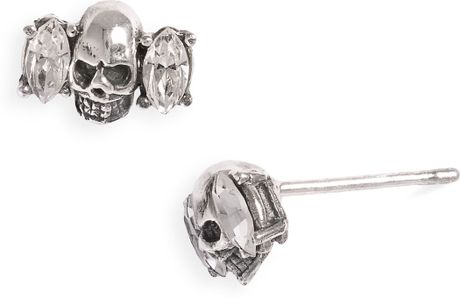 Tom Binns Momento Mori Skull Crystal Stud Earrings in Silver - Lyst