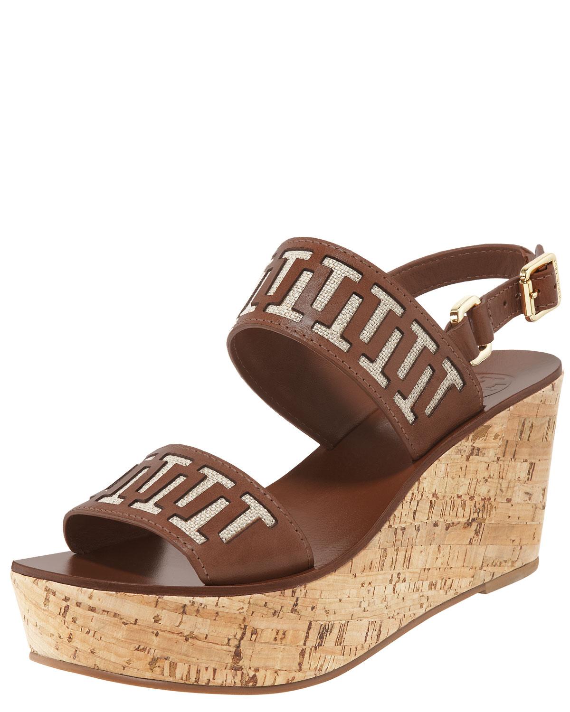 89ce14a06e28b1 Lyst - Tory Burch Regan Cork Wedge Sandal in Brown