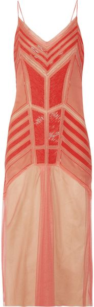 Alberta Ferretti Beaded Silkchiffon and Tulle Dress in Pink (coral) - Lyst