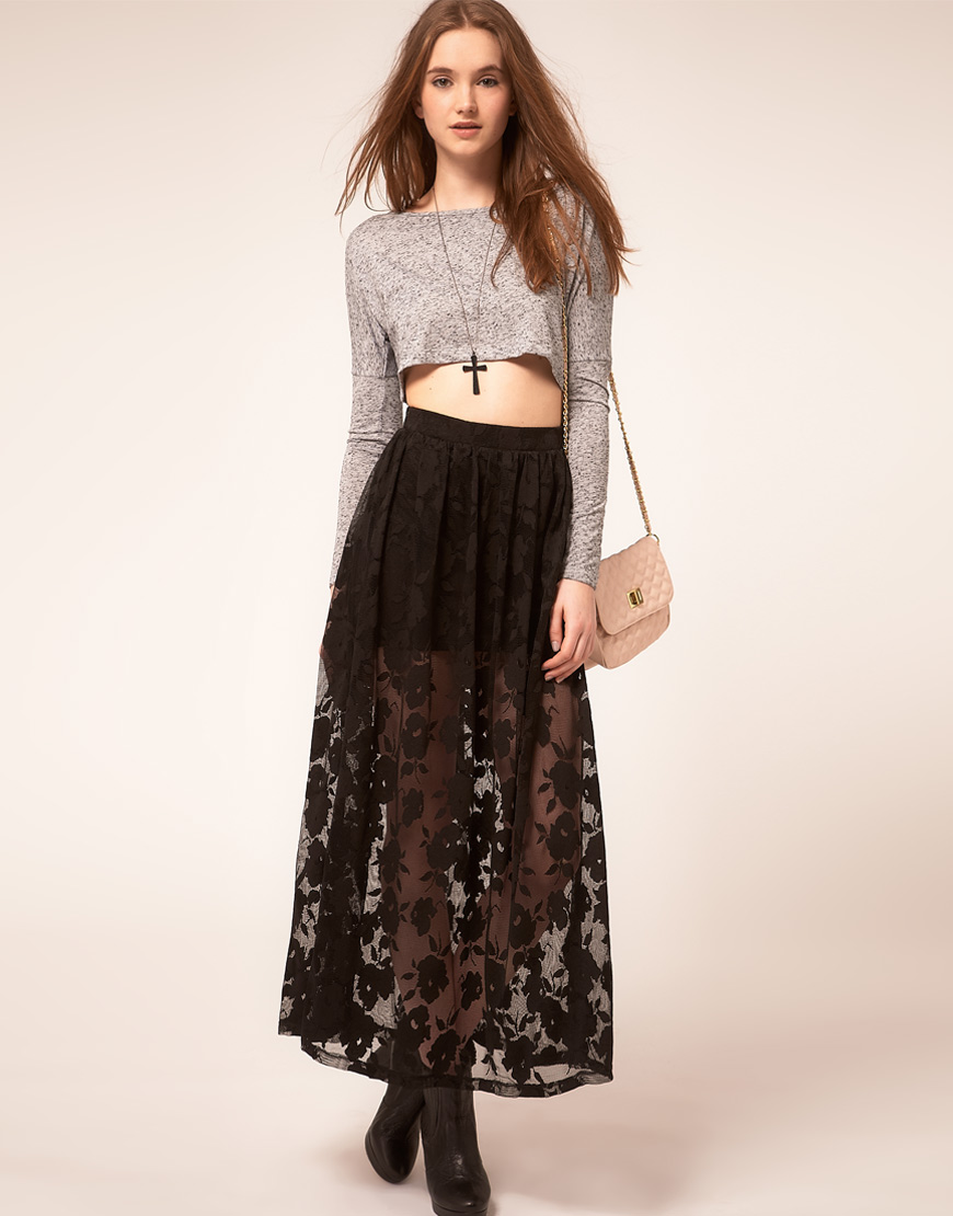how to wear black lace maxi skirt