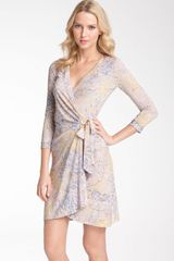 BCBGMAXAZRIA Printed Jersey Wrap Dress - Lyst