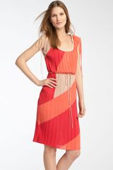 BCBGMAXAZRIA Pleated Colorblock Dress - Lyst