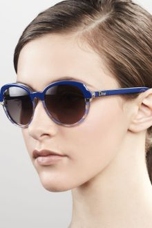 Dior Round Croisette Striped Sunglasses Blue Crystal - Lyst