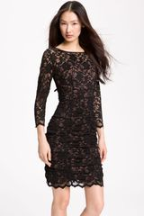 Eliza J Ruched Lace Sheath Dress - Lyst