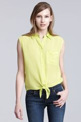 Equipment Tie Front Sleeveless Blouse in Yellow (lime punch) - Lyst