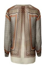 L'agence Lagence Band Collar Blouse Gold Geo Print in Multicolor (gold) - Lyst