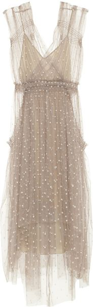 Lela Rose Polkadot Tulle Dress in Brown (taupe) - Lyst