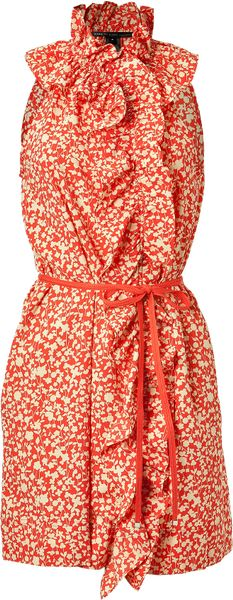 Marc By Marc Jacobs Red Belted Floral Dress in Red - Lyst