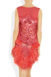 Matthew Williamson Feather and Beadembellished Silkchiffon Dress - Lyst