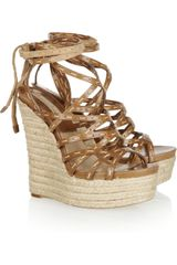 Michael Kors Leather Espadrille Wedge Sandals - Lyst