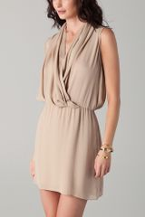 Parker Drape Dress in Beige (sand) - Lyst
