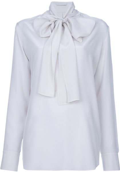 Stella Mccartney Pussy Bow Blouse in White (nude) - Lyst