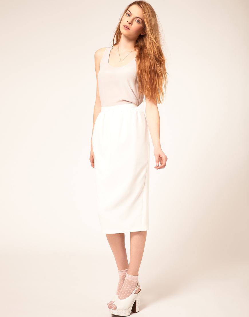 asos collection asos midi bell pencil skirt in white lyst