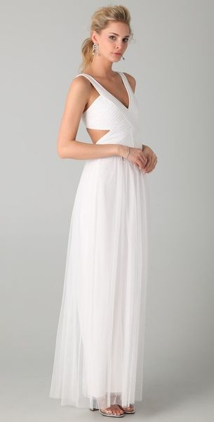 Bcbgmaxazria Mara Open Back Gown in White - Lyst