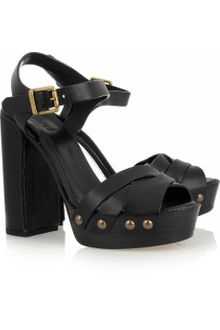 Chloé Leather and Wood Sandals - Lyst