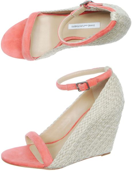 Diane Von Furstenberg  Jute Wedges in Pink (natural) - Lyst