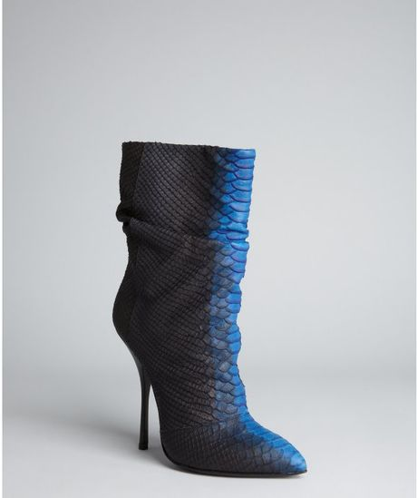 Giuseppe Zanotti Black Snake Embossed Leather Dirty Boots