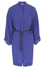 Matthew Williamson Washed Silk Safari Dress in Blue - Lyst