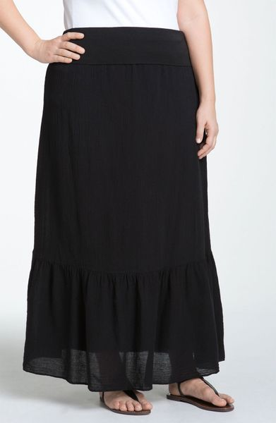 Splendid Ruffle Hem Maxi Skirt in Black - Lyst
