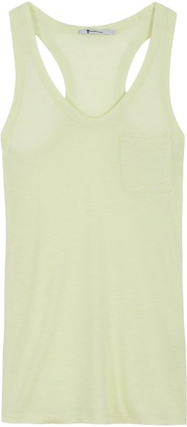 T By Alexander Wang Loose Fit Racerback Tank in Green - Lyst