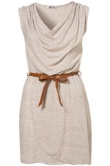 Topshop Belted Wrap Dress By Wal G in Beige - Lyst