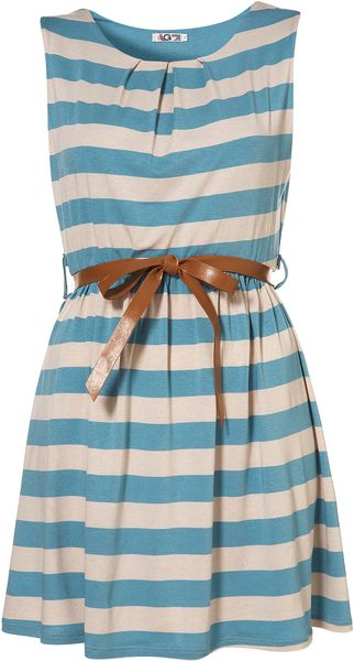 Topshop Stripe Belted Dress By Wal G - Lyst