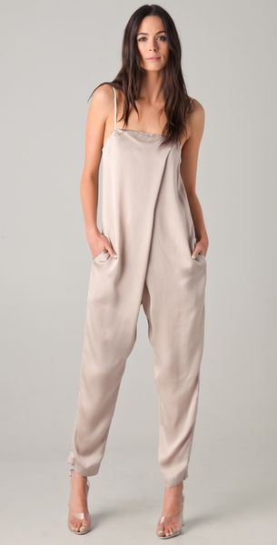 3.1 Phillip Lim Front Overlapped Jumpsuit in Beige - Lyst