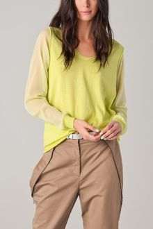 3.1 Phillip Lim Racer Back Sweater with Chiffon Sleeves - Lyst
