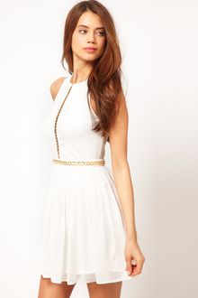 ASOS Collection Skater Dress With Chain Trim - Lyst